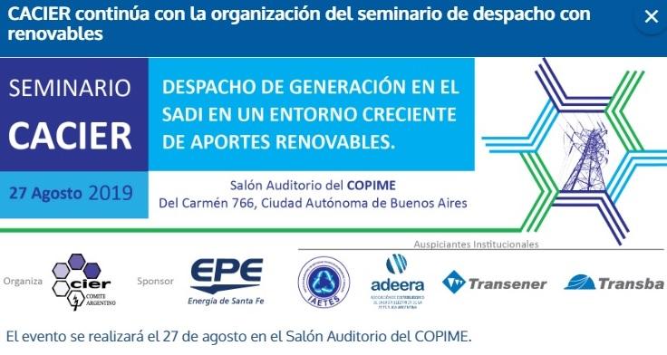 ADEERA y CACIER organizan seminario para analizar el despacho de energías renovables en Argentina