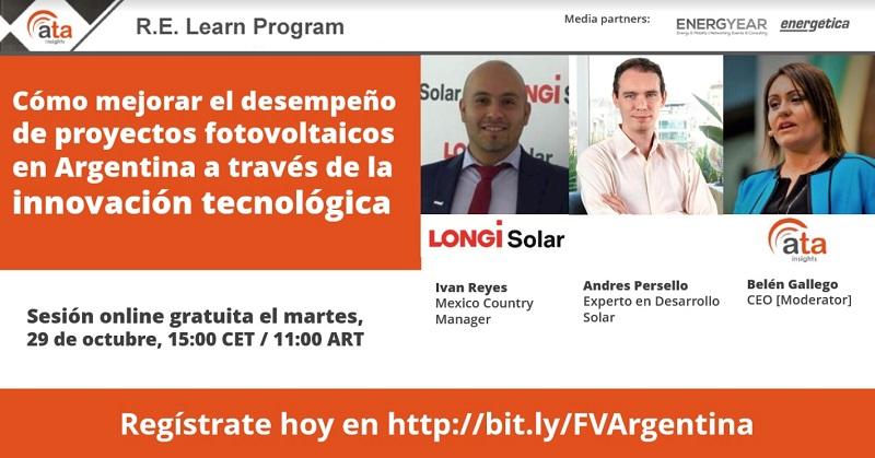Lanzan Webinar para analizar «desempeño de proyectos fotovoltaicos en Argentina a través de la innovación tecnológica»