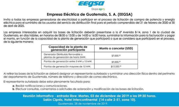 Empresa Eléctrica de Guatemala convoca a todas las tecnologías de energías renovables para una subasta de compra de energía