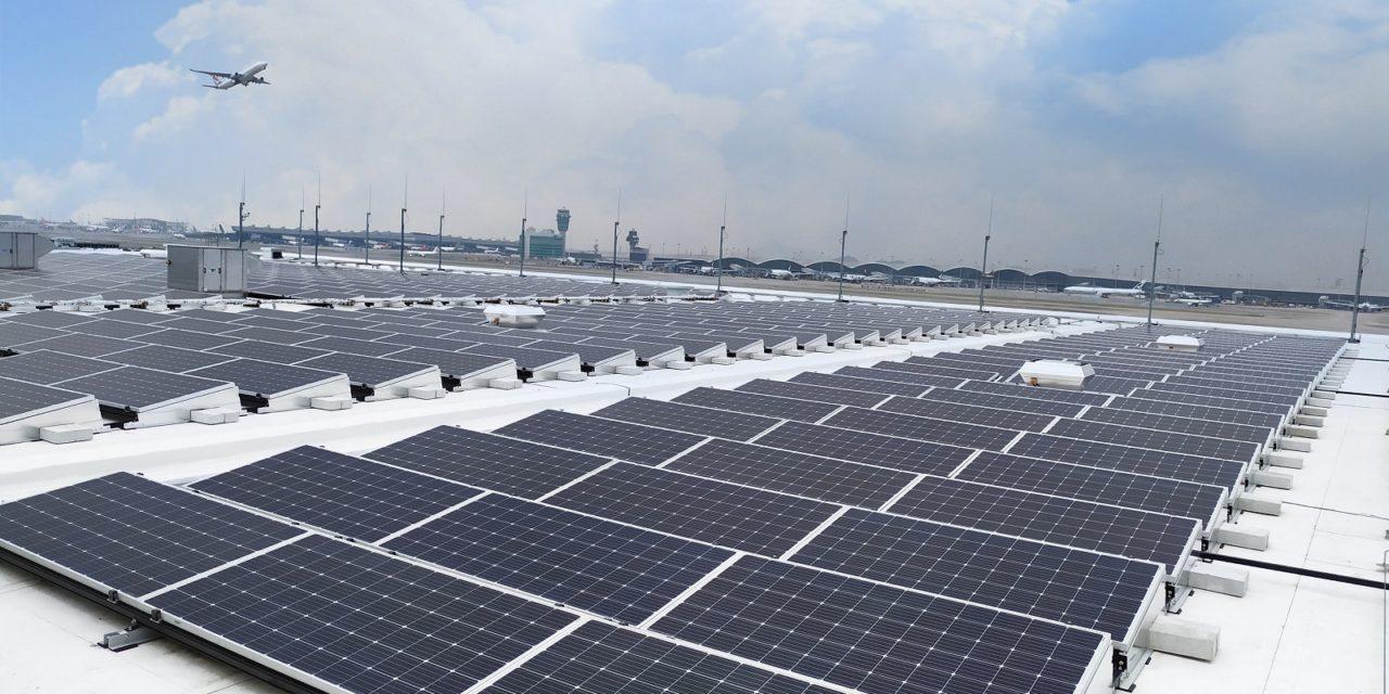 Los módulos monocristalinos PERC de alta eficiencia de Longi generan energía en un prestigioso aeropuerto internacional