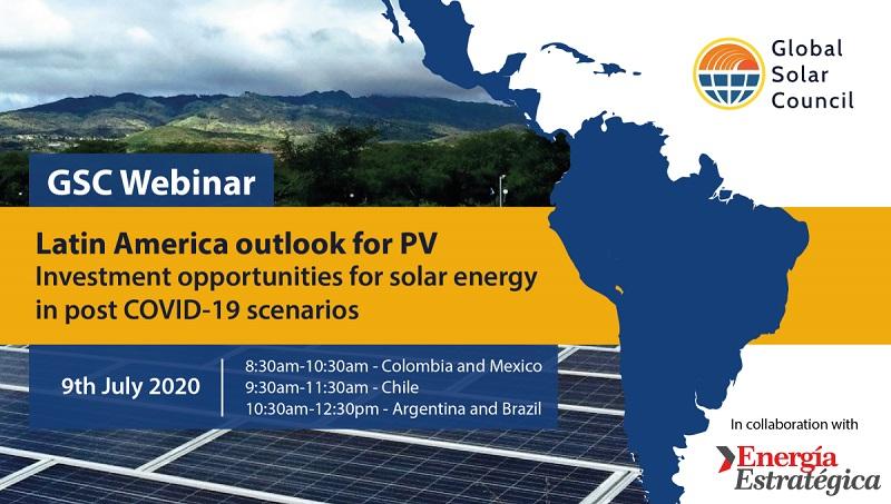 Webinar del Global Solar Council analizará oportunidades de inversión del mercado fotovoltaico en Latinoamérica