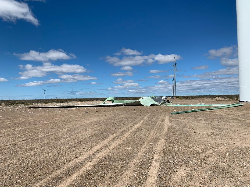 Se detectó una pala afectada en un parque eólico de Chubut