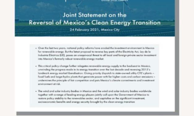 Organismos mundiales de energías renovables piden al gobierno de México que restaure la transición del país a energías limpias