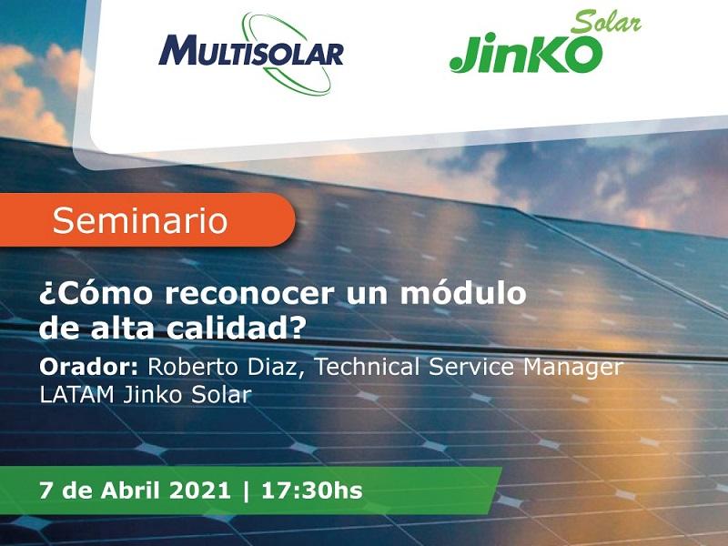 Multisolar y Jinko lanzan una capacitación gratuita sobre módulos solares fotovoltaicos