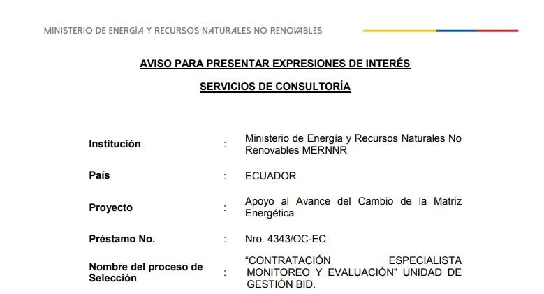 Ministerio de Energía de Ecuador lanzó 12 licitaciones para profesionales del sector energético